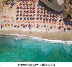Aerial view of beautiful beach in Saranda, Albania (Mirror Beach)