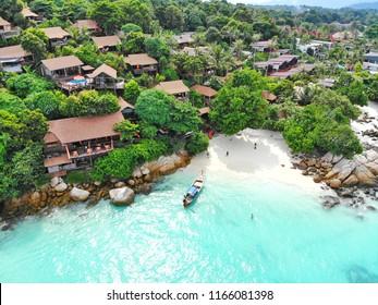 Aerial view of beautiful beach in Satun province, Thailand. Lipe Island of Heaven.