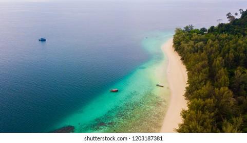 Aerial view of beautiful beach, tropical island in Koh Kradan, thailand