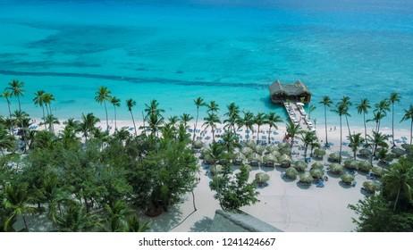 Aerial view of a beautiful caribbean beach resort in La Romana, Dominican Republic