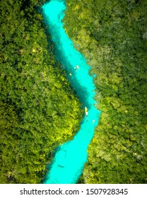 Aerial view of beautiful Casa Cenote in Tulum, Quintana Roo, Mexico