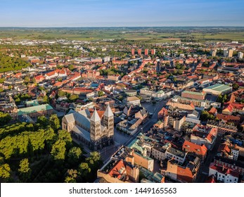 Aerial view of beautiful cathedral in downtown Lund, Sweden sunset