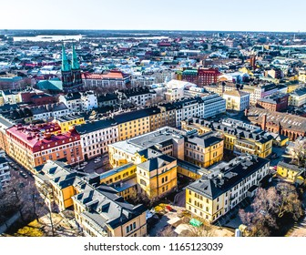 Aerial view of beautiful city Helsinki at Autumn. Blue sky and clouds and colorful buildings. Helsinki, Finland.