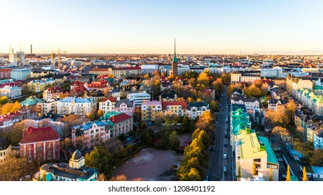 Aerial view of beautiful city Helsinki. sky and clouds and colorful buildings. Helsinki, Finland.