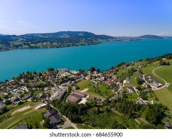 Aerial view, beautiful clear alpine lake Attersee with green water, salzkammergut, Austria, europe