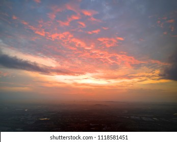Aerial view of beautiful clouds during sunrise