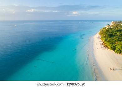 aerial view to beautiful coast on Zanzibar island