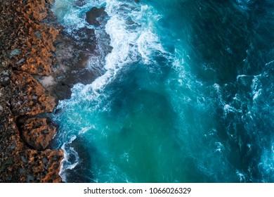 Aerial view of beautiful coastline in Sumba Island, Indonesia