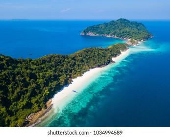 Aerial view of beautiful Cock Burn Island in Myanmar, seascape