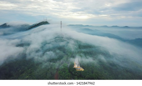 Aerial view beautiful fog floating through the mountains