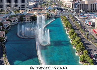 Aerial view of beautiful fountains show in Las Vegas, Nevada.