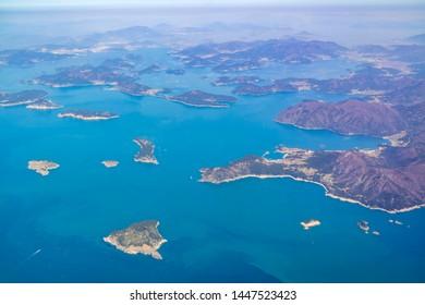 Aerial view of the beautiful Geojenamseo-ro at South Korea