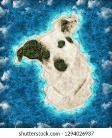 Aerial view of beautiful island in the shape of a dog.