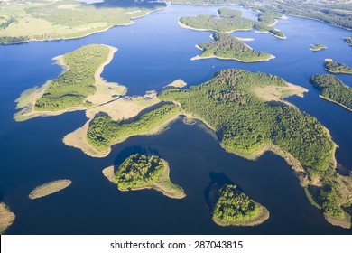Aerial view of beautiful islands on Kisajno Lake, Mazury, Poland