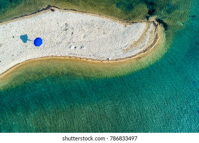 Aerial view of the beautiful Karidi beach in the Vourvourou of Chalkidiki,Greece. Visit the summer hundreds of tourists daily from the Balkans and from Europe