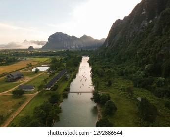 Aerial view, Beautiful view with Kayaking adventure at vang vieng, laos