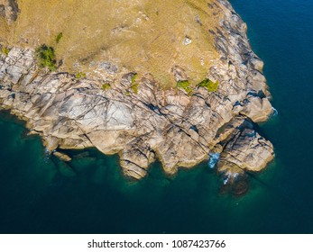 Aerial view of beautiful Krating Cape at Nai Harn beach, Phuket, Thailand, Laem Krating