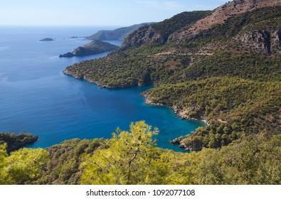 Aerial view of beautiful lagoon on Lycian way in Oludeniz, Mugla province, Turkey