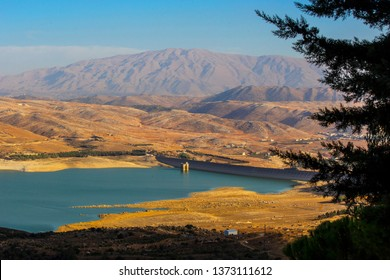 Aerial view of beautiful Lake Qaraoun in Bekaa valley, close to Syrian border, Lebanon