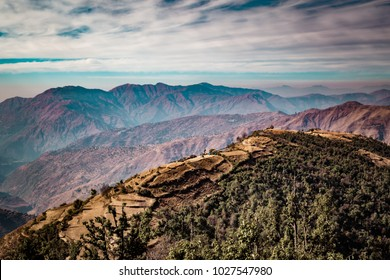 Aerial view of beautiful landscape of Himalayan mountains from Nag Tibba, the highest peak in the lesser himalayan region of Garhwal, Uttarakhand, India.