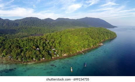 Aerial view of beautiful landscape Iboih, Sabang, Nangro Aceh Darusalam. Wonderful paradise of Tropical island with rainforest.