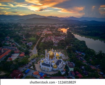 Aerial View of beautiful landscape in Kuala Kangsar city in Malaysia from Top.