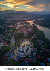 Aerial View of beautiful landscape in Kuala Kangsar city in Malaysia from Top. Portrait format.