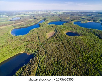 Aerial view of beautiful landscape of Mazury region - Kacze Lake and Krzywa Kuta Lake, Poland