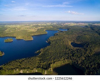 Aerial view of beautiful landscape of Mazury region - Krzywa Kuta Lake, Poland