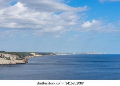 Aerial view of beautiful landscape in Menorca Spain