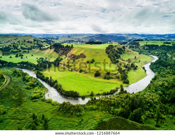 Aerial view of beautiful landscape of Whanganui River, New Zealand