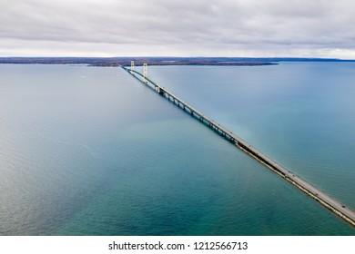Aerial view of the beautiful Mackinaw Bridge. The largest suspended bridge in America