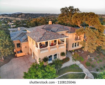 Aerial View Of A Beautiful Mediterranean Home Exterior .