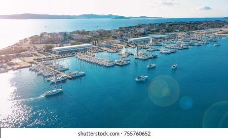 Aerial view of beautiful modern marine of Sukosan densely packed with sailing boats and yachts, Marina Dalmacija. Croatia