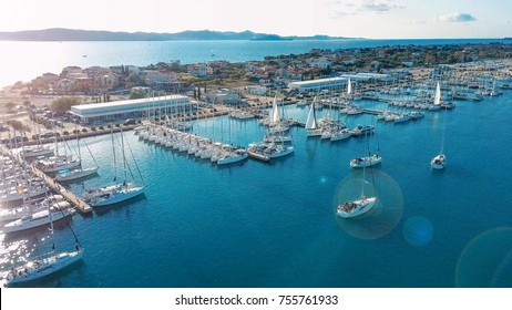 Aerial view of beautiful modern marine of Sukosan densely packed with sailing boats and yachts, Marina Dalmacija. Croatia