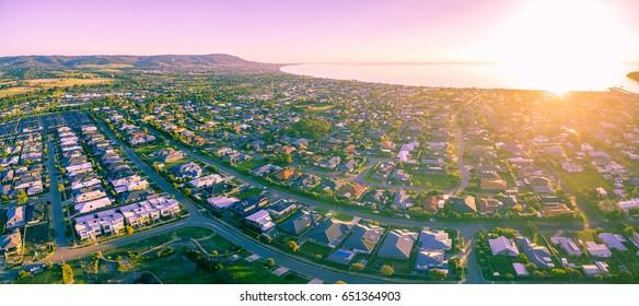 Aerial view of the beautiful Mornington Peninsula suburbs at sunrise. Melbourne, Australia