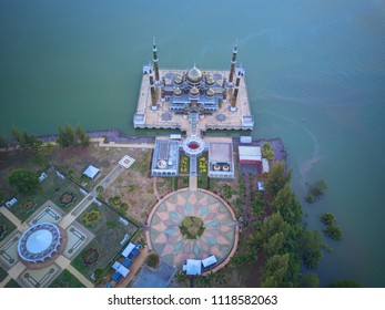 Aerial view of beautiful mosque at Kuala Terengganu, Malaysia during early morning.