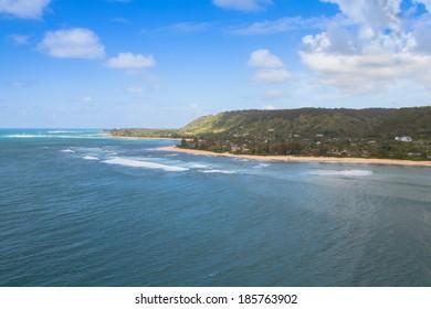 Aerial view of beautiful Oahu coastline