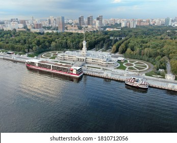 Aerial view is a beautiful panorama of the renovated Northern River Station in Moscow. Colorful landscape of the city and the river at sunset. River cruises