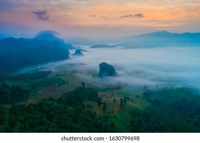 Aerial view of beautiful Phu langka Payao province, Thailand,