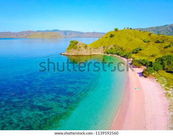 Vue aérienne de la belle plage rose de Flores Island.