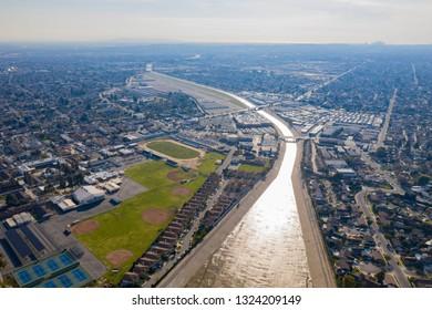 Aerial view of the beautiful Rio Hondo river at Los Angeles, California