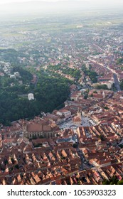 Aerial view of the beautiful Romanian city Brasov, as seen from the Tampa mountain, Romania