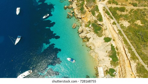 Aerial view of beautiful sea with beautiful couple
