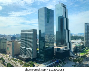 Aerial view of beautiful Seoul skyline at the Gangnam district. South Korea. Reflection on the building of the cloud and sky during day. Seoul, South Korea, 08/22/2018