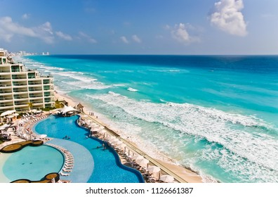 aerial view of beautiful shoreline of cancun mexico