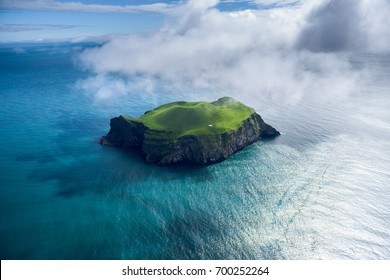 Aerial view of beautiful small island in Iceland