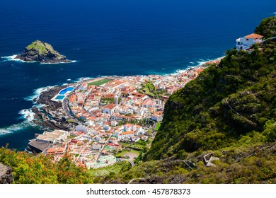 aerial view of the beautiful small town Garachico, Tenerife, Canary Islands, Spain