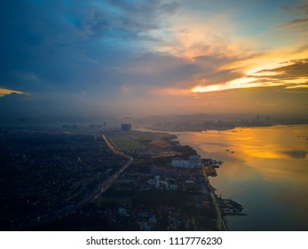 Aerial View with beautiful sunrise over the city at Johor Bahru, Malaysia