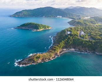Aerial view of beautiful sunrise at Promthep cape ,Phuket